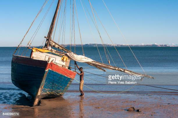 Malagasy sailor and his schooner
