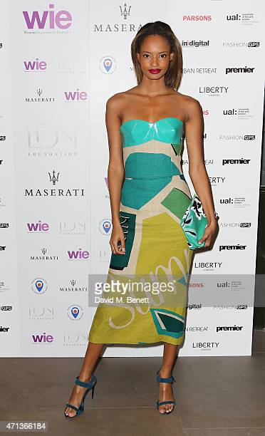Malaika Firth arrives at the LDNY show and WIE Award gala sponsored by Maserati at Goldsmith Hall on April 27 2015 in London England