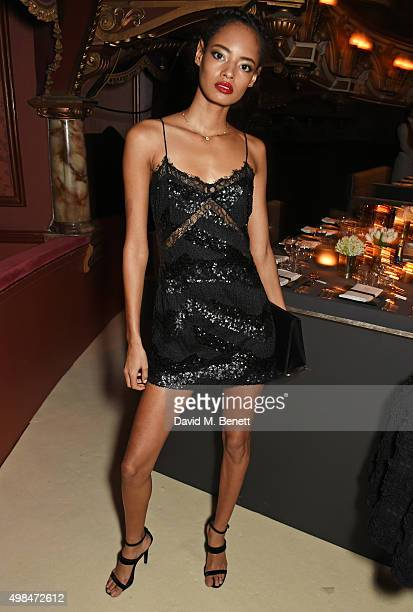 Malaika Firth attends a drinks reception at the British Fashion Awards in partnership with Swarovski at the London Coliseum on November 23 2015 in...