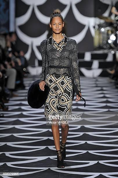 Malaika Firth walks the runway at the Diane Von Furstenberg Ready to Wear Fall/Winter 20142015 fashion show during MercedesBenz Fashion Week Fall...