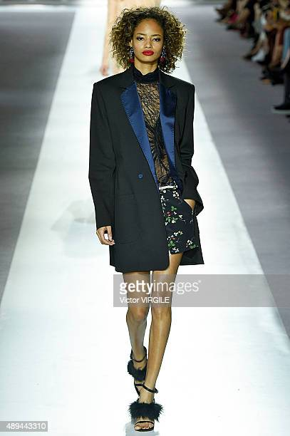 Malaika Firth walks the runway at the Topshop Unique Ready to Wear show during London Fashion Week Spring/Summer 2016 on September 20 2015 in London...