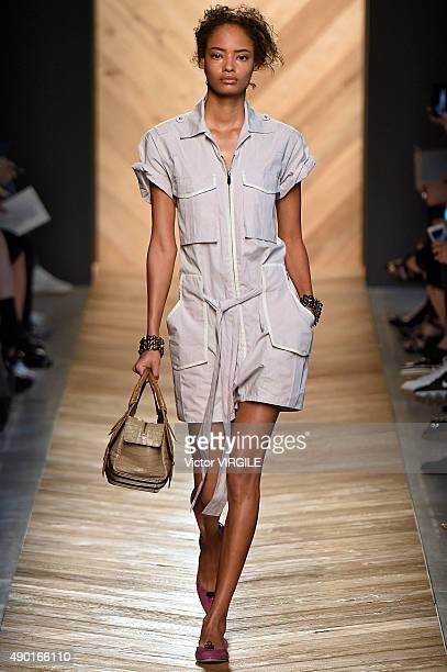 Malaika Firth walks the runway during the Bottega Veneta Ready to Wear fashion show as part of Milan Fashion Week Spring/Summer 2016 on September 26...