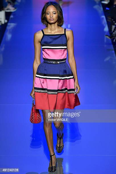 Malaika Firth walks the runway during the Elie Saab Ready to Wear show as part of the Paris Fashion Week Womenswear Spring/Summer 2016 on October 3...