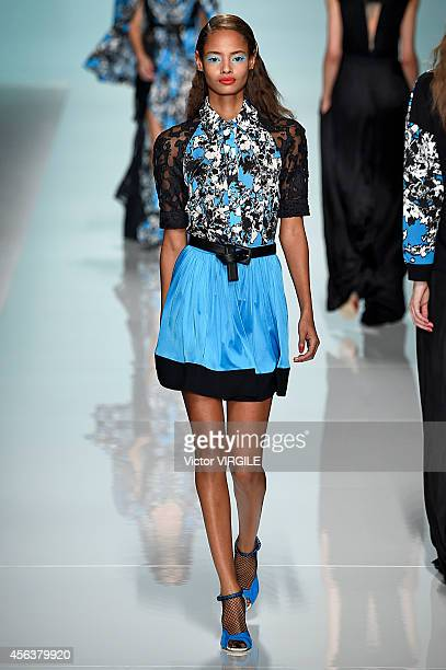 Malaika Firth walks the runway during the Emanuel Ungaro Ready to Wear show as part of the Paris Fashion Week Womenswear Spring/Summer 2015 on...