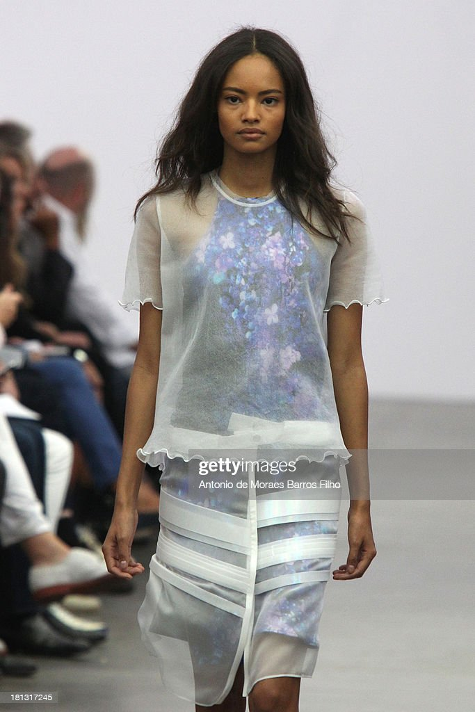 Malaika Firth walks the runway during the Iceberg show as a part of Milan Fashion Week Womenswear Spring/Summer 2014 on September 20, 2013 in Milan, Italy.