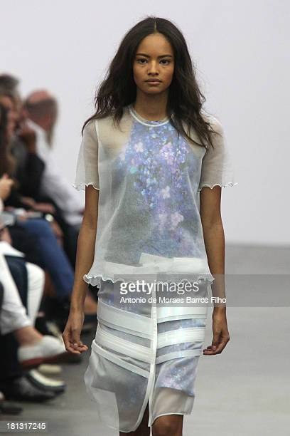 Malaika Firth walks the runway during the Iceberg show as a part of Milan Fashion Week Womenswear Spring/Summer 2014 on September 20 2013 in Milan...