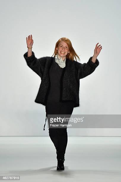 Malaika Raiss the runway at the Malaikaraiss Show during MercedesBenz Fashion Week Autumn/Winter 2014/15 at Brandenburg Gate on January 15 2014 in...