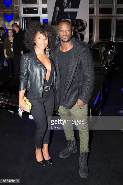 Malaka Salazas and Tim Omaji arrives ahead of The Fate of the Furious Sydney Premiere on April 11 2017 in Sydney Australia