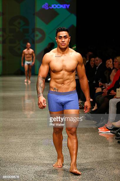 Malakai Fekitao of the All Blacks walks in the Jockey show at New Zealand Fashion Week 2015 on August 27 2015 in Auckland New Zealand