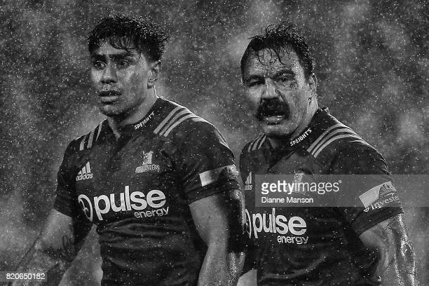 Malakai Fekitoa and Ash Dixon of the Highlanders look on during the Super Rugby Quarter Final match between the Crusaders and the Highlanders at AMI...