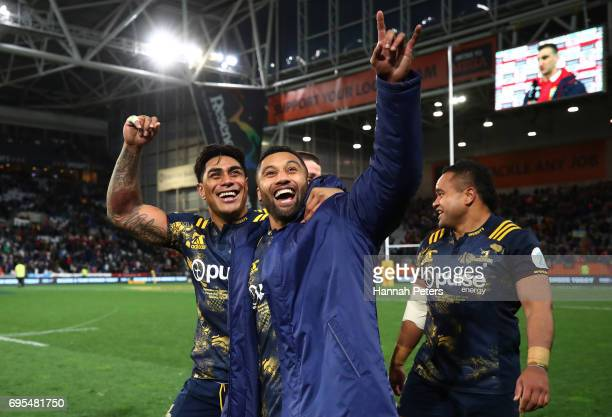 Malakai Fekitoa and Lima Sopoaga of the Highlanders celebrate their 2322 victory during the 2017 British Irish Lions tour match between the...