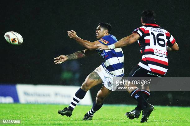 Malakai Fekitoa of Auckland passes the ball out during the round one Mitre 10 Cup match between Counties Manukau and Auckland at ECOLight Stadium on...