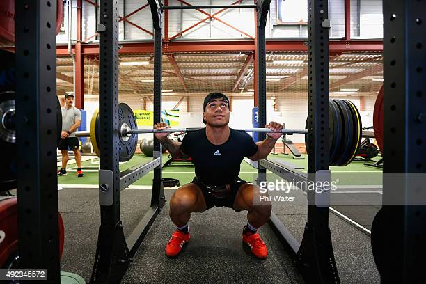 Malakai Fekitoa of the All Blacks during a New Zealand All Blacks gym session at Swansea University on October 12 2015 in Swansea United Kingdom