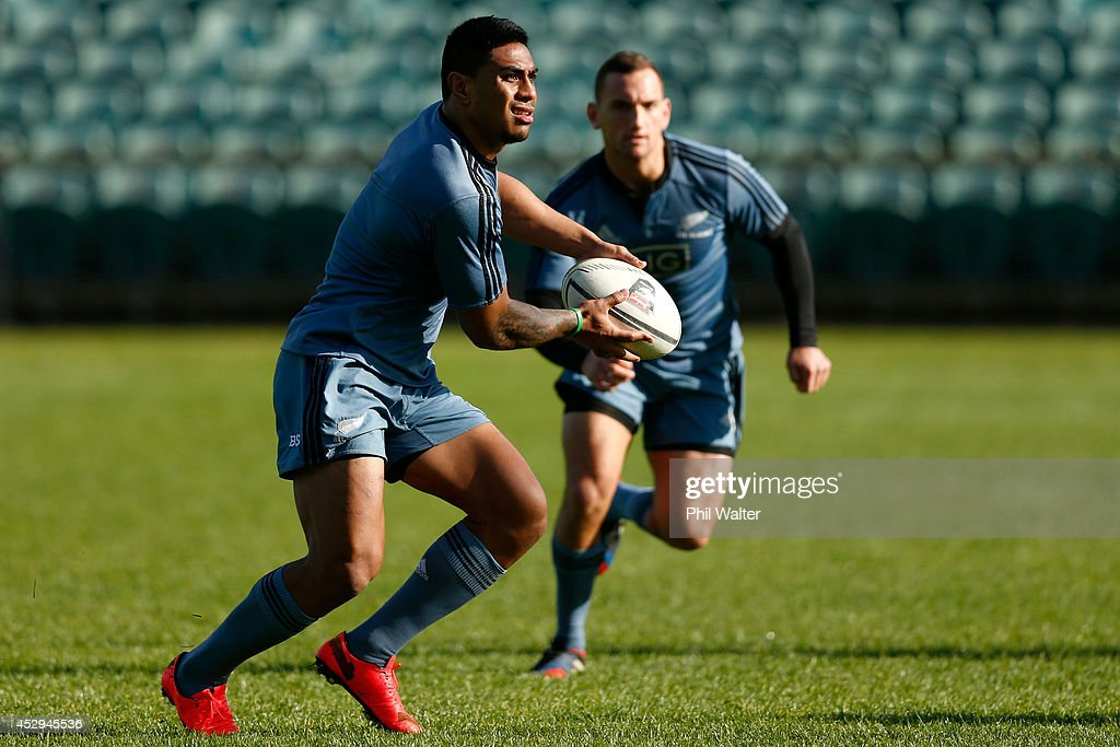 Malakai Fekitoa of the All Blacks looks to pass during a New Zealand All Blacks training session at North Harbour Stadium on July 31, 2014 in Auckland, New Zealand.