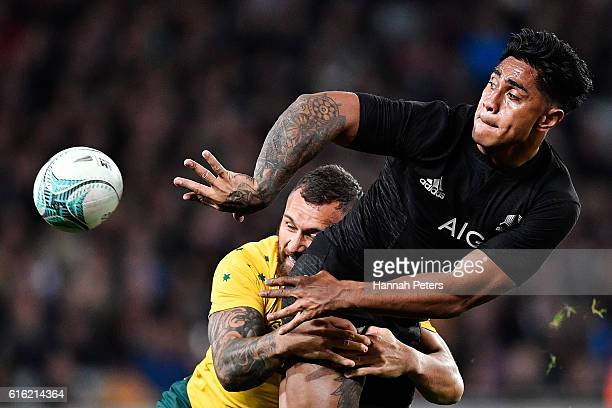 Malakai Fekitoa of the All Blacks offloads the ball during the Bledisloe Cup Rugby Championship match between the New Zealand All Blacks and the...