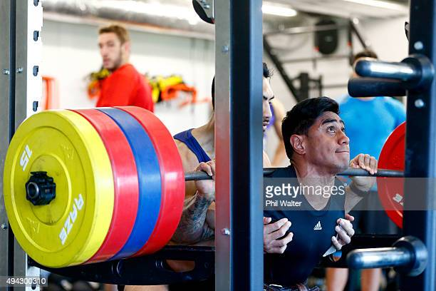 Malakai Fekitoa of the All Blacks squats during a New Zealand All Blacks training session at London Irish on October 26 2015 in Bagshot United Kingdom