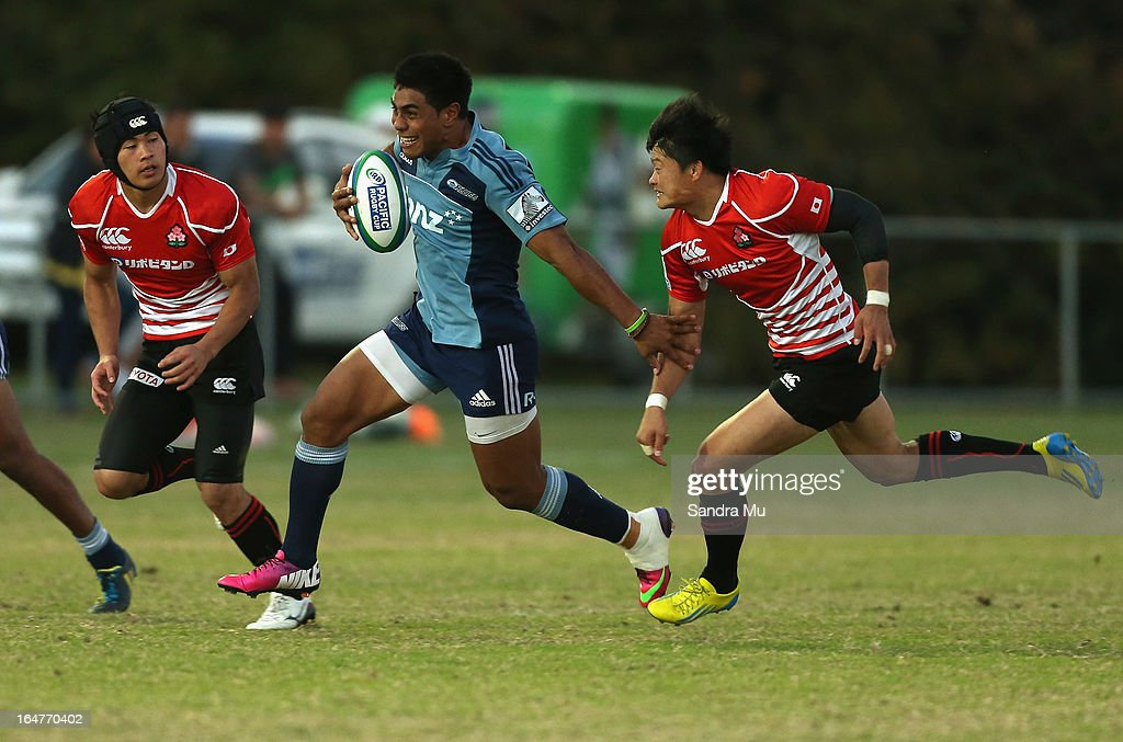 Malakai Fekitoa of the Blues in action during the Pacific Rugby Cup match between the Blues Development and Junior Japan at Bell Park on March 28, 2013 in Auckland, New Zealand.