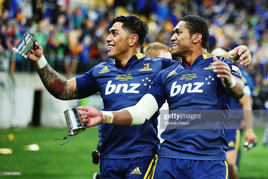 Malakai Fekitoa of the Highlanders and Waisake Naholo of the Highlanders celebrate after winning the Super Rugby Final match between the Hurricanes and the Highlanders at Westpac Stadium on July 4, 2015 in Wellington, New Zealand.