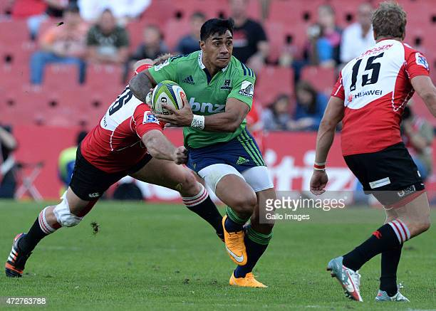 Malakai Fekitoa of the Highlanders attacks during the Super Rugby match between Emirates Lions and Highlanders at Emirates Airline Park on May 09...