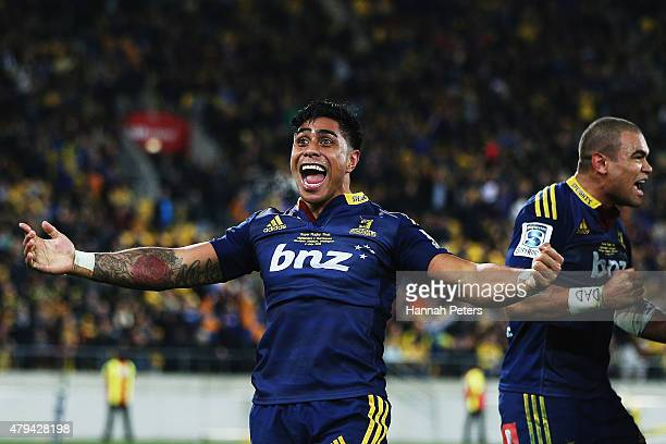 Malakai Fekitoa of the Highlanders celebrates after winning the Super Rugby Final match between the Hurricanes and the Highlanders at Westpac Stadium...
