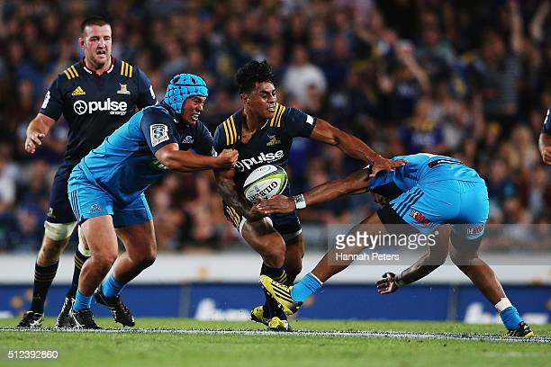 Malakai Fekitoa of the Highlanders charges forward during the round one Super Rugby match between the Blues and the Highlanders at Eden Park on...