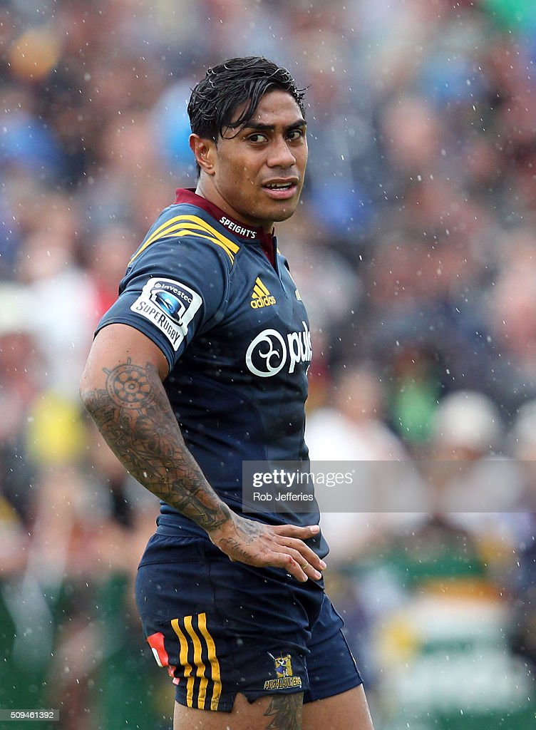 <a gi-track='captionPersonalityLinkClicked' href=/galleries/search?phrase=Malakai+Fekitoa&family=editorial&specificpeople=9630619 ng-click='$event.stopPropagation()'>Malakai Fekitoa</a> of the Highlanders during the Super Rugby trial match between the Highlanders and the Crusaders at Fred Booth Park on February 11, 2016 in Waimumu, New Zealand.