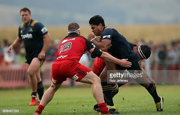 Malakai Fekitoa of the Highlanders on the charge during the Super Rugby trial match between the Highlanders and the Crusaders at Fred Booth Park on...