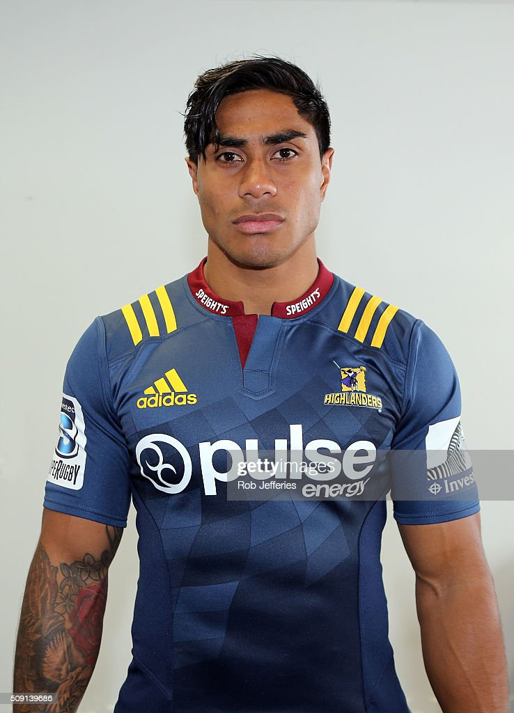 <a gi-track='captionPersonalityLinkClicked' href=/galleries/search?phrase=Malakai+Fekitoa&family=editorial&specificpeople=9630619 ng-click='$event.stopPropagation()'>Malakai Fekitoa</a> of the Highlanders poses for a photo during a Highlanders portrait session on February 9, 2016 in Dunedin, New Zealand.