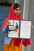 Malala Yousafzai accepts the Nobel Peace Prize Award during the Nobel Peace Prize ceremony at Oslo City Town Hall on December 10 2014 in Oslo Norway
