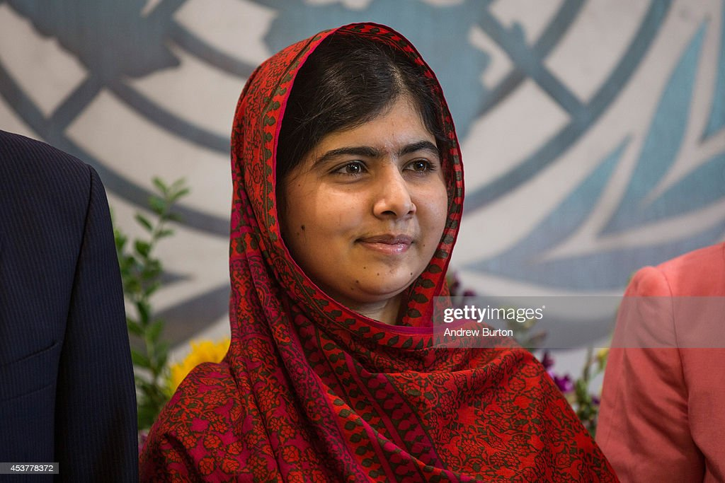 <a gi-track='captionPersonalityLinkClicked' href=/galleries/search?phrase=Malala+Yousafzai&family=editorial&specificpeople=5849423 ng-click='$event.stopPropagation()'>Malala Yousafzai</a>, an education and women's rights activist, meets with United Nations (UN) Secretary General Ban Ki-Moon (not seen) on August 18, 2014 in New York City. Mala also attended a conference marking the UN's Millenium Development Goals.