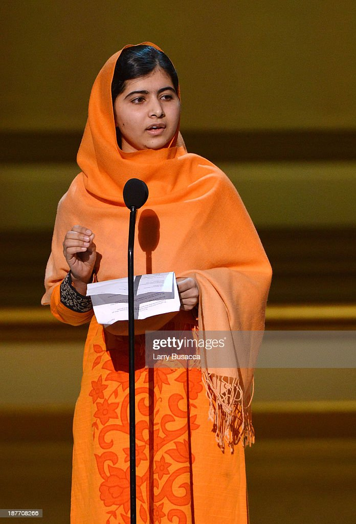 Malala Yousafzai appears onstage at Glamour's 23rd annual Women of the Year awards on November 11, 2013 in New York City.