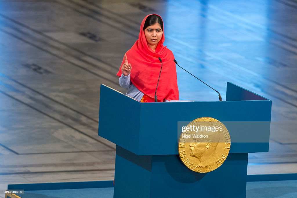 Malala Yousafzai delivers her acceptance speech during the Nobel Peace Prize ceremony at Oslo City Town Hall on December 10 2014 in Oslo Norway