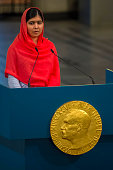 Malala Yousafzai delivers her acceptance speech to the audience during the Nobel Peace Prize Award ceremony at Oslo City Town on December 10 2014 in...