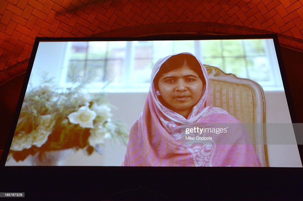 <a gi-track='captionPersonalityLinkClicked' href=/galleries/search?phrase=Malala+Yousafzai&family=editorial&specificpeople=5849423 ng-click='$event.stopPropagation()'>Malala Yousafzai</a> presents via video at the third annual Pencils of Promise gala at Guastavino's on October 24, 2013 in New York City.