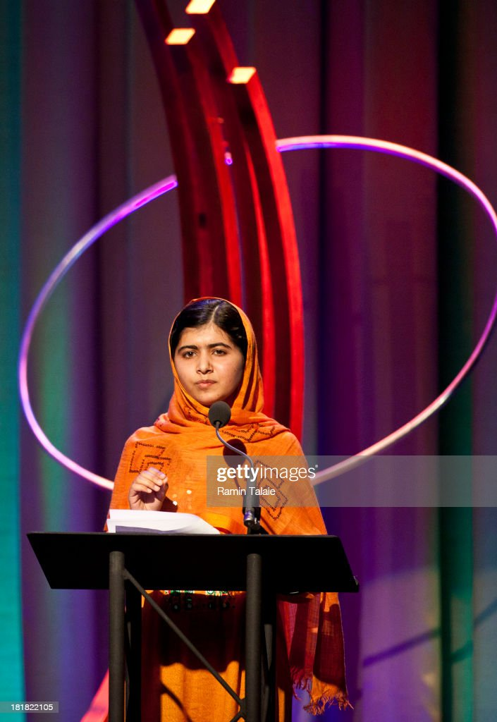 <a gi-track='captionPersonalityLinkClicked' href=/galleries/search?phrase=Malala+Yousafzai&family=editorial&specificpeople=5849423 ng-click='$event.stopPropagation()'>Malala Yousafzai</a> speaks after receiving the Leadership in Civil Society award at the annual Clinton Global Initiative (CGI) award ceremony on September 25, 2013 in New York City. Timed to coincide with the United Nations General Assembly, CGI brings together heads of state, CEOs, philanthropists and others to help find solutions to the world's major problems.