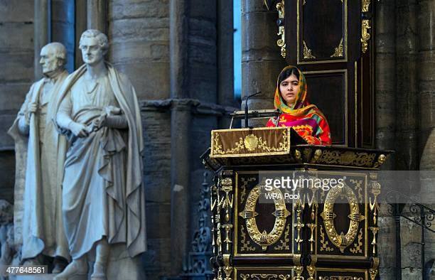 Malala Yousafzai speaks as she attends the Commonwealth day observance service at Westminster Abbey on March 10 2014 in London England