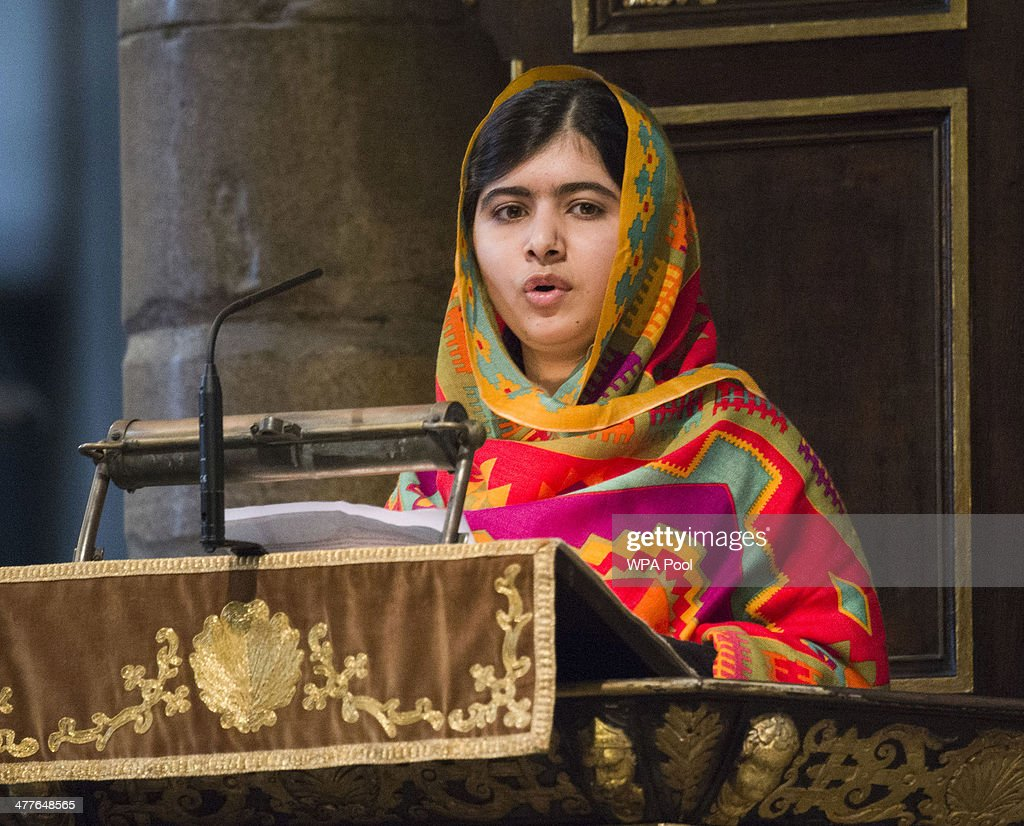 <a gi-track='captionPersonalityLinkClicked' href=/galleries/search?phrase=Malala+Yousafzai&family=editorial&specificpeople=5849423 ng-click='$event.stopPropagation()'>Malala Yousafzai</a> speaks as she attends the Commonwealth day observance service at Westminster Abbey on March 10, 2014 in London, England.