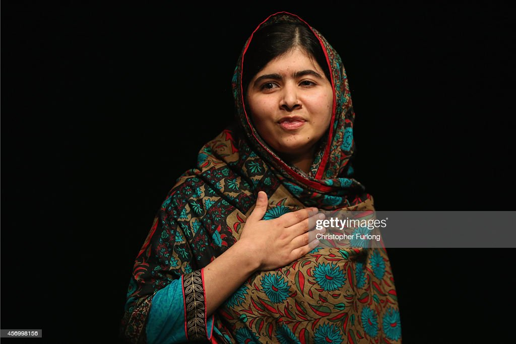 Malala Yousafzai speaks during a press conference at the Library of Birmingham after being announced as a recipient of the Nobel Peace Prize on...