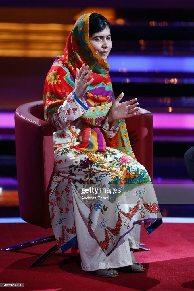 Malala Yousafzai speaks during the '2013! Menschen, Bilder, Emotionen' - RTL-Jahresrueckblick on December 1, 2013 in Huerth near Cologne, Germany.