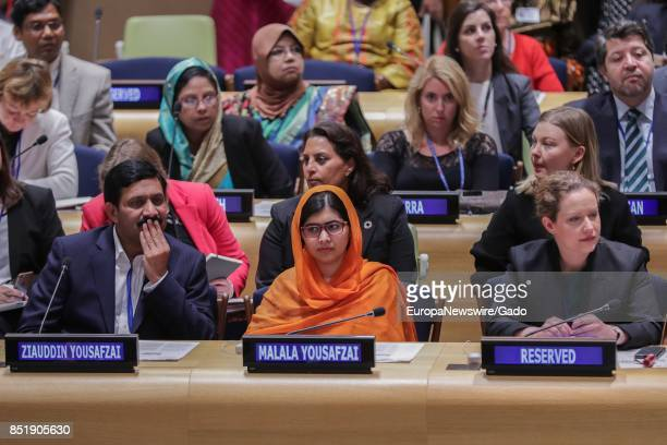 Malala Yousafzai UN Messenger of Peace and Nobel Prize laureate during a highlevel event on Financing the Future Education 2030 at the UN...