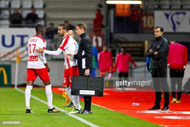 Malaly Dembele of Nancy and Youssouf Hadji of Nancy and Vincent Hognon coach of Nancy during the French Ligue 2 mach between Nancy and Bourg en...