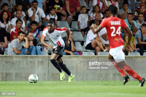 Malaly Dembele of Nancy during the Ligue 2 match between Nimes Olympique and As Nancy Lorraine at Stade des Costieres on August 14 2017 in Nimes