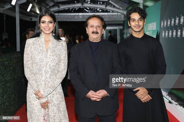 Malavika Mohanan director Majid Majidi and Ishaan Khatter attend the World Premiere of 'Beyond The Clouds' during the 61st BFI London Film Festival...