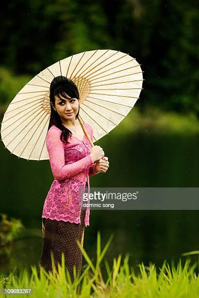 Malay lady in pink Kerbaya