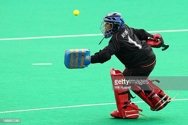 Malaysia goalkeeper Farah Ayuni Yahya makes a save during the Austaralia v Malaysia game during day two of the 2012 International Super Series at...