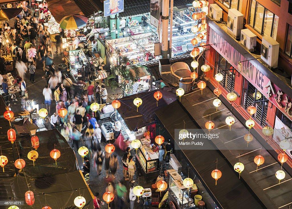 Malaysia, Kuala Lumpur, Chinatown at night : Stock Photo
