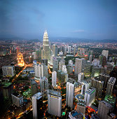 Malaysia, Kuala Lumpur skyline at dusk