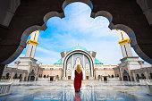 Malaysia Mosque with Muslim pray in Malaysia, Malaysian muslim with mosque religion concept