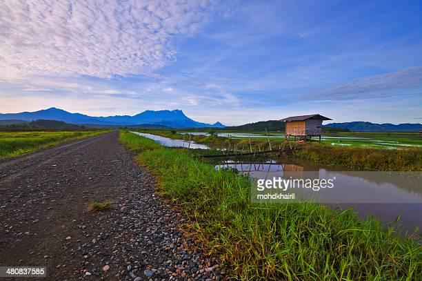 Malaysia, Sabah, Kota Belud, Sunrise over Sangkir Village