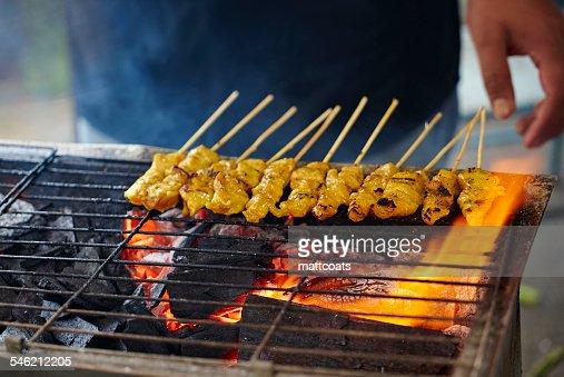Malaysia, Satay sticks on barbecue